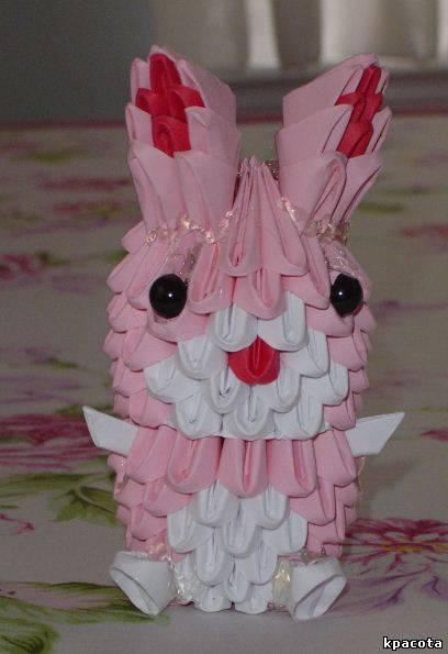 Кролик из треугольных модулей