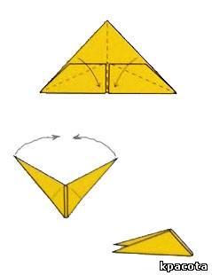 Как сделать журавля из бумаги на голову