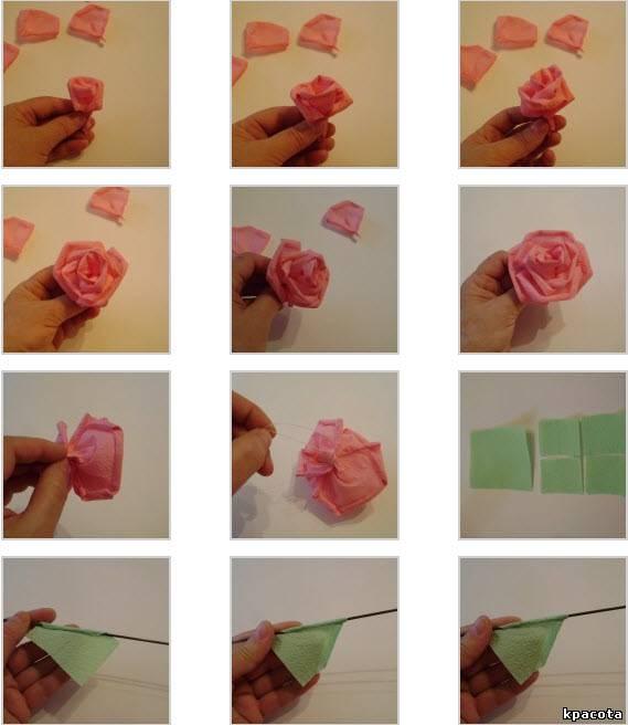 Как сделать из салфетки розу для девушки